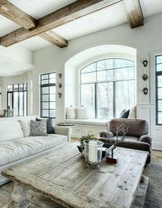 Modern farmhouse also gorgeous white linen neutral colors natural woods mullion rh pinterest