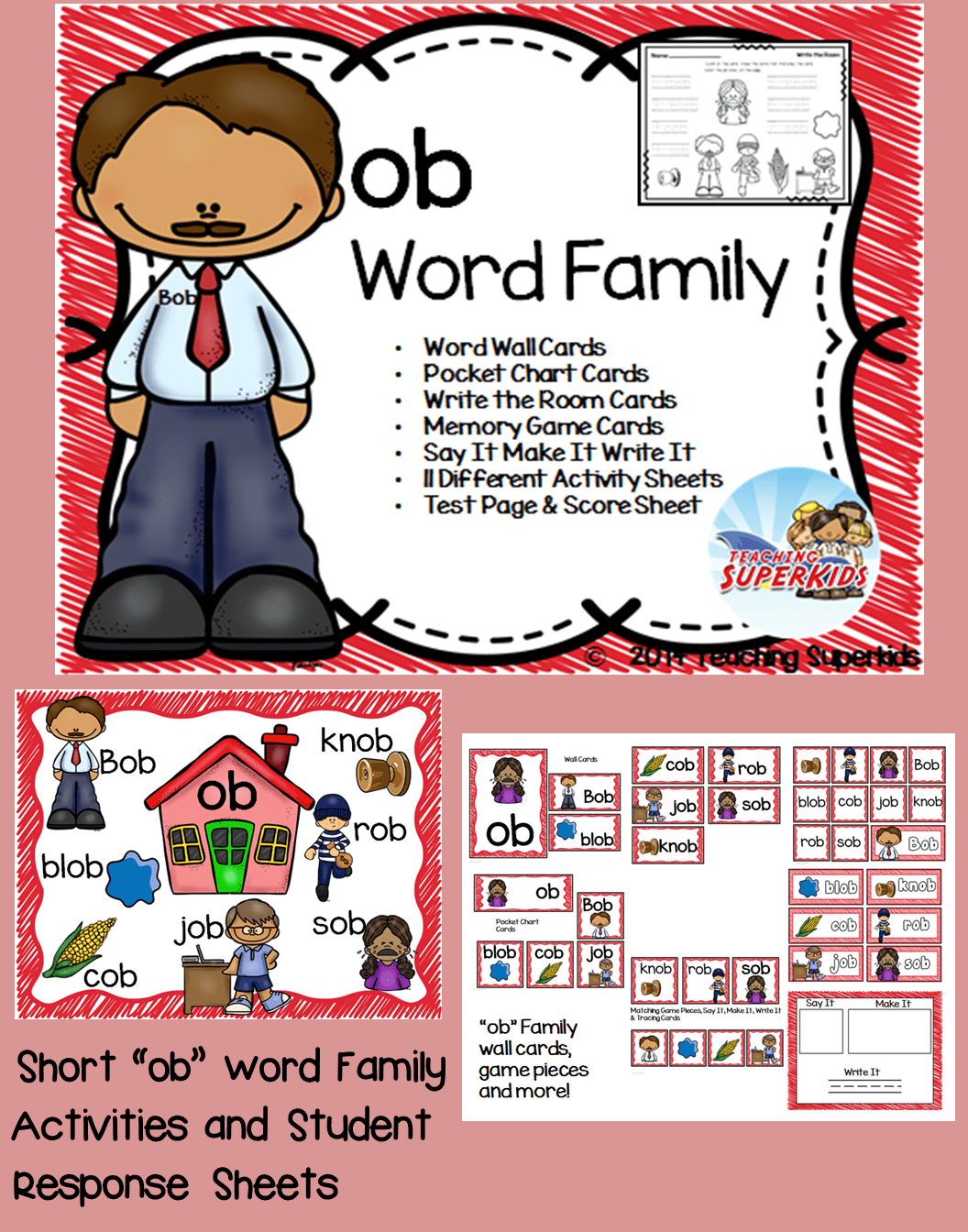 Ob Word Family Phonics Pack