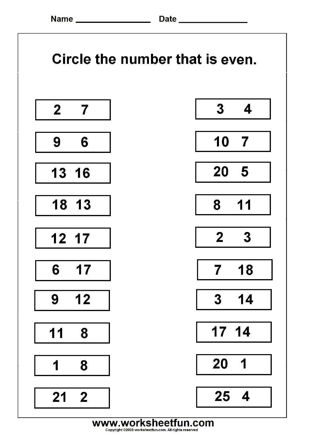 Even Amp Odd Numbers Worksheet This Site Has Lots Of