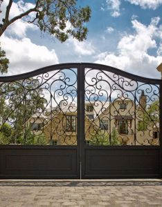 Impressive wrought iron gates defining landscaping designs driveway paver patterns with and fence also outdoor lighting for best images about on pinterest steel rh
