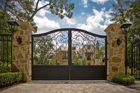 Iron Entrance Gates Designs   entry gate hedge wrought ...