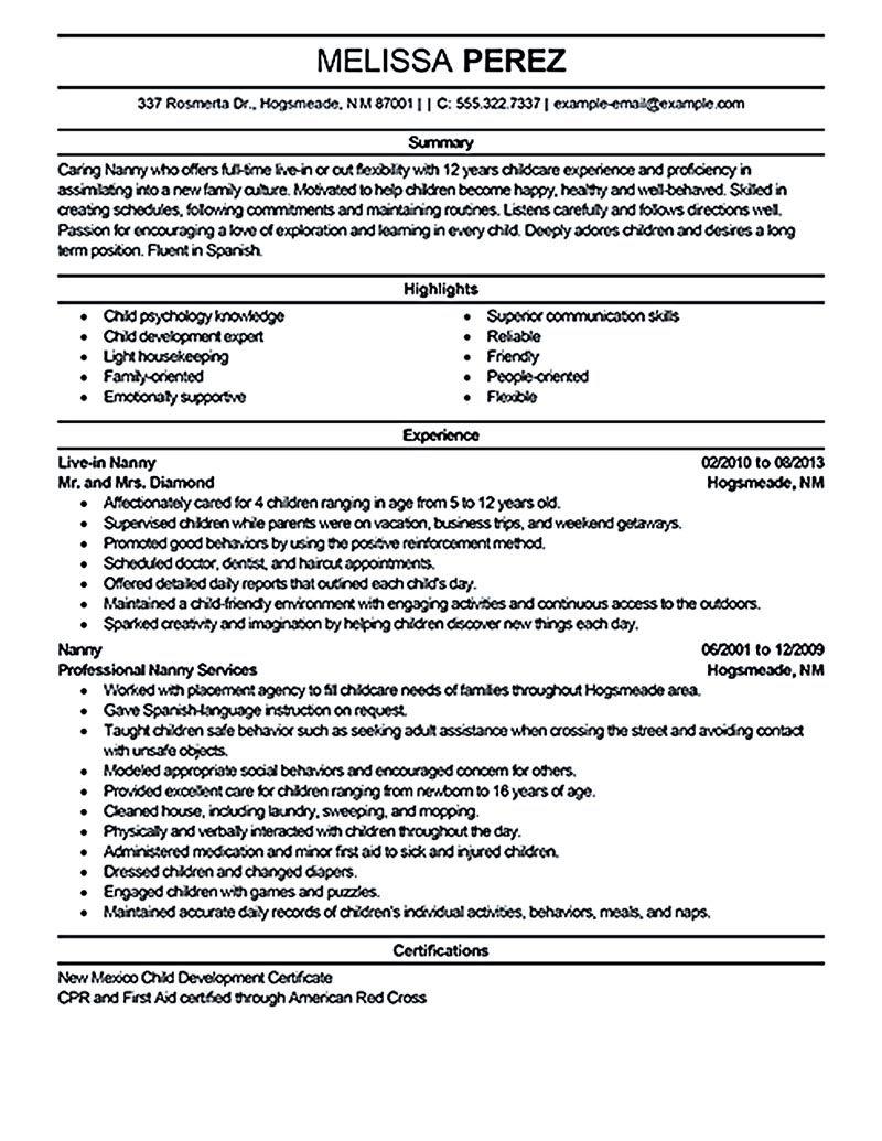 Examples Of Nanny Resumes - Examples of Resumes