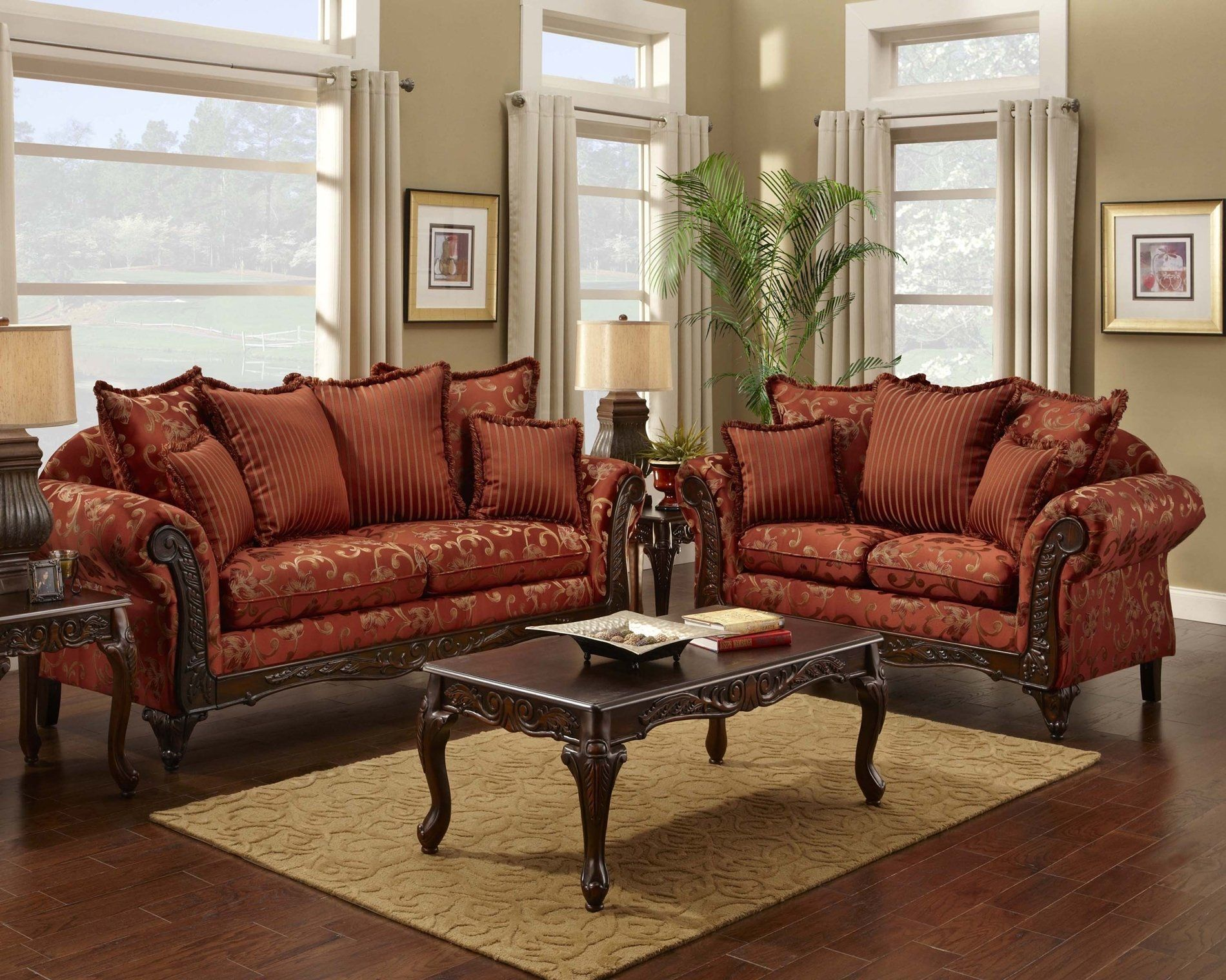 print sofa set grey corner metal legs red floral and loveseat traditional