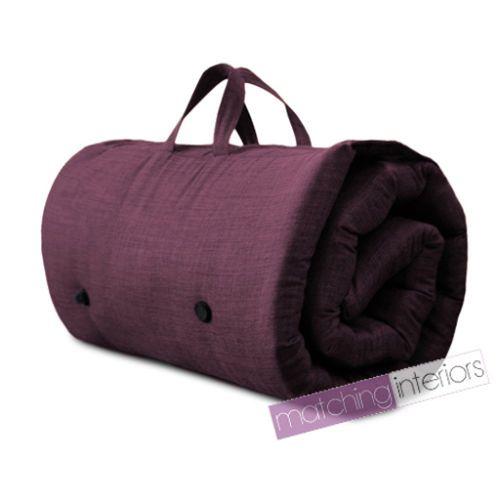 Plum Purple Travel Guest Sleepover Mattress Roll Up Futon Z Bed Gap Year Student