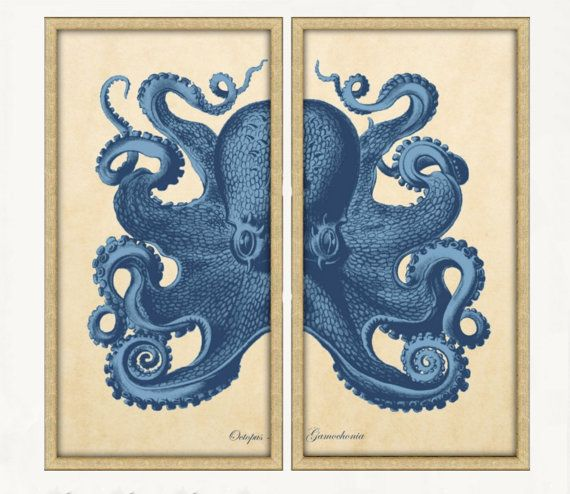"""Octopus Diptych Two 18x36"""" Panels Nautical Octopus Sea Life"""