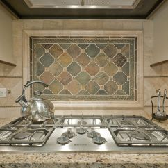 Natural Stone Backsplash Kitchen Oak Chairs Stunning Mural With Frame For