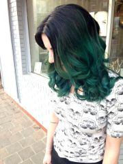 dark teal hair midnight