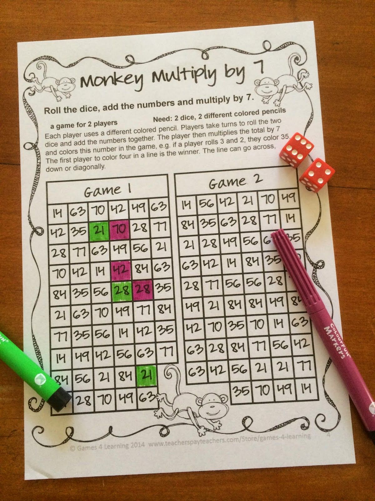No Prep Math Games Freebies This One S A Fun Multiplication Game Roll 2 Dice Add Then