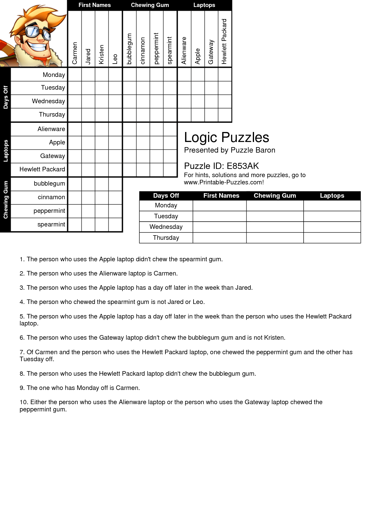 Eloquent Logic Puzzles Easy Printable
