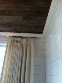 Reclaimed barn wood ceiling and whitewashed shiplap on the ...