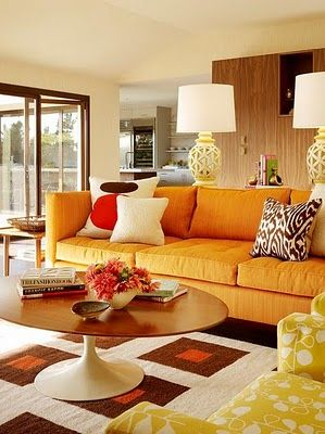orange yellow and brown living room ideas red leather couch decorating pinterest retro inspired with sofa by designer palmer weiss i m not a fan of the rug but this picture makes me think those floral bird