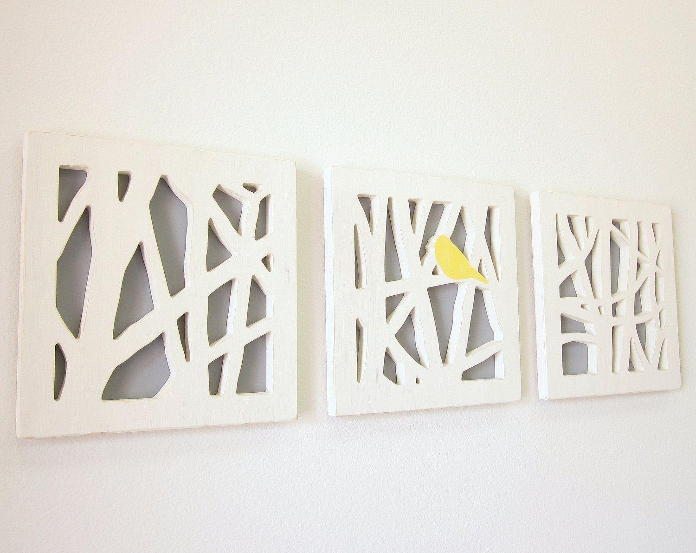 Yellow Bird Wall Art Set, Triptych Wall Art Set, Yellow