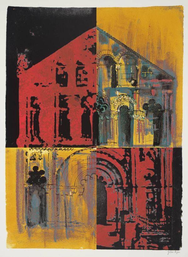 Petit Palais Pink And Yellow 1972 British Artist John Piper 1903-1992 . Screenprint