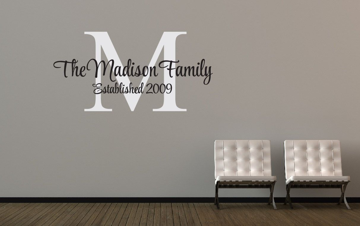 Personalized family name decal monogram established date vinyl wall decor custom also rh pinterest