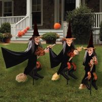 Halloween witch garden stakes set 3 lawn decoration party