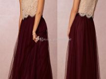 2016 long burgundy bridesmaid dresses lace top and tulle ...