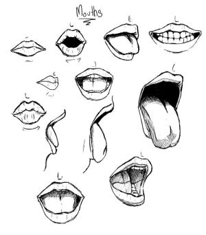 mouth open drawing drawings simple kiss