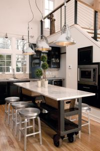 Love the industrial roller & marble island! A good narrow ...