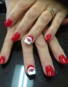 Red color and santa nails design also back nail acrylic pinterest rh