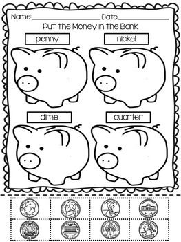 Students practice identifying quarters, nickels, dimes and