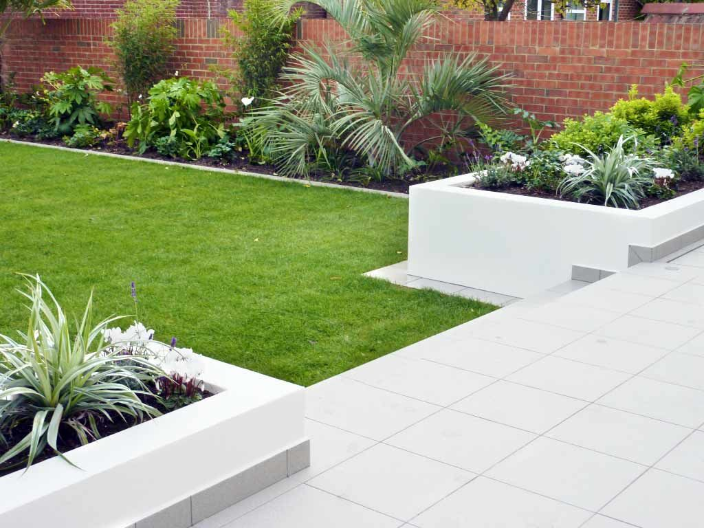 Contemporary Style Rendered Walls And Raised Beds Patio And