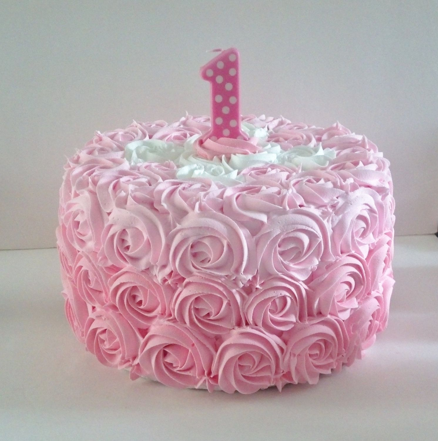 Large Pink Rosette First Birthday Fake By