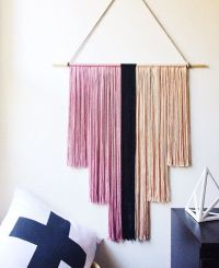 Pink and Black Yarn Wall Hanging Art Deco banner fiber art ...