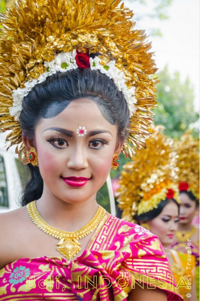 Girls dressed as Hindu Goddess for temple festival Bali Indonesia