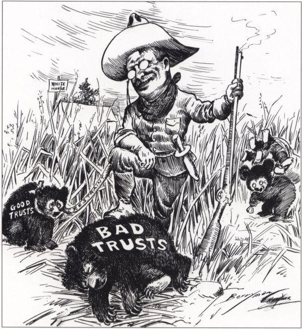 Roosevelt and the Trusts Political Cartoon