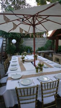 Starting with table setup for our backyard bbq party ...