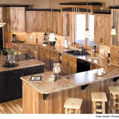 Rustic Hickory Kitchen Cabinets Refacers With Granite Counters Cabin Home