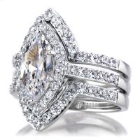 Padgett's Marquise Cut CZ Wedding Ring Set - Double Ring ...