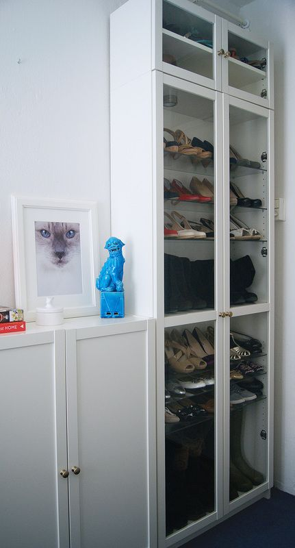 Ikea Billy book case white and glass shoe closet  Ikea