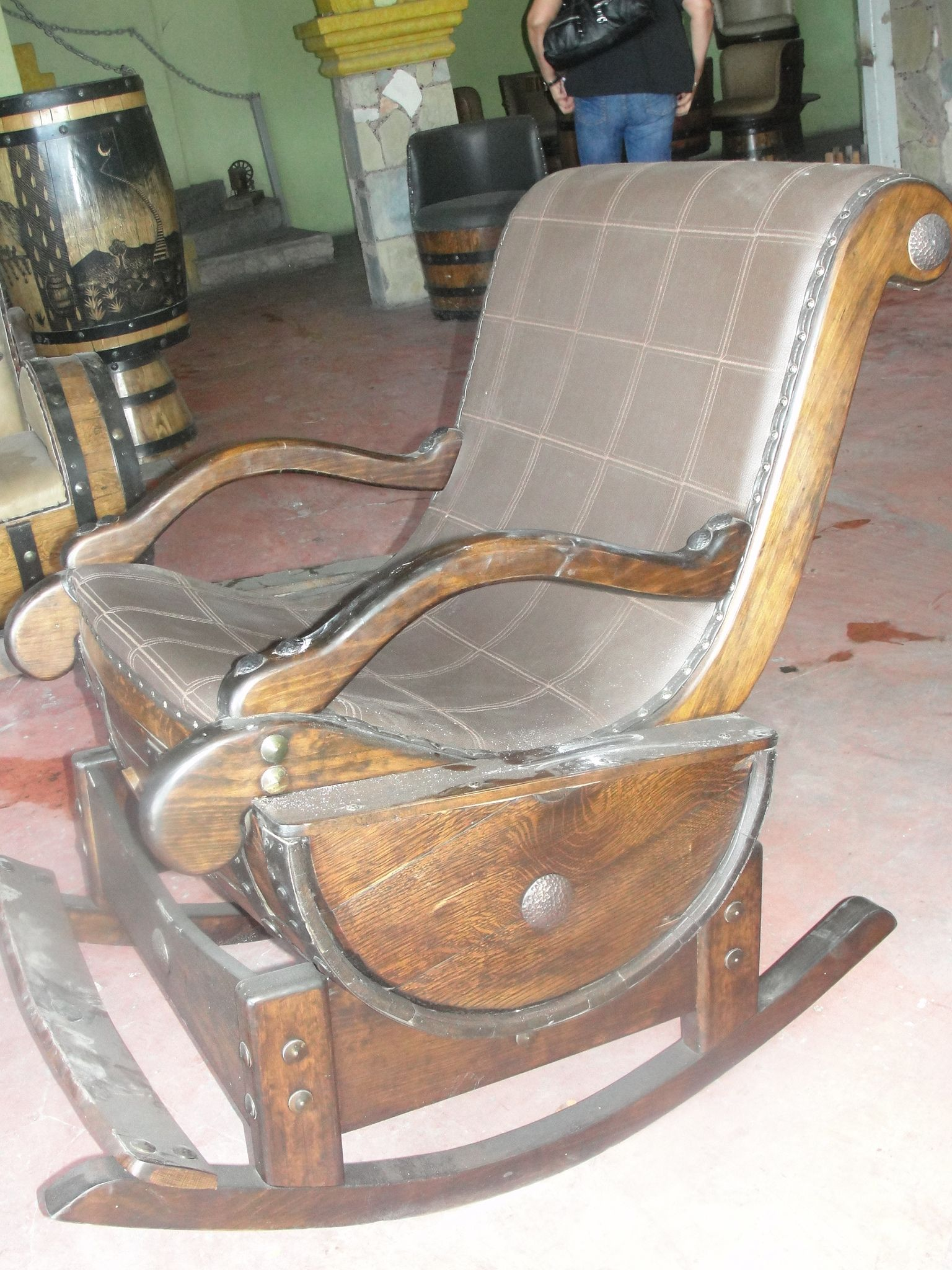 comfortable rocking chair adirondack set made out tequila barrel