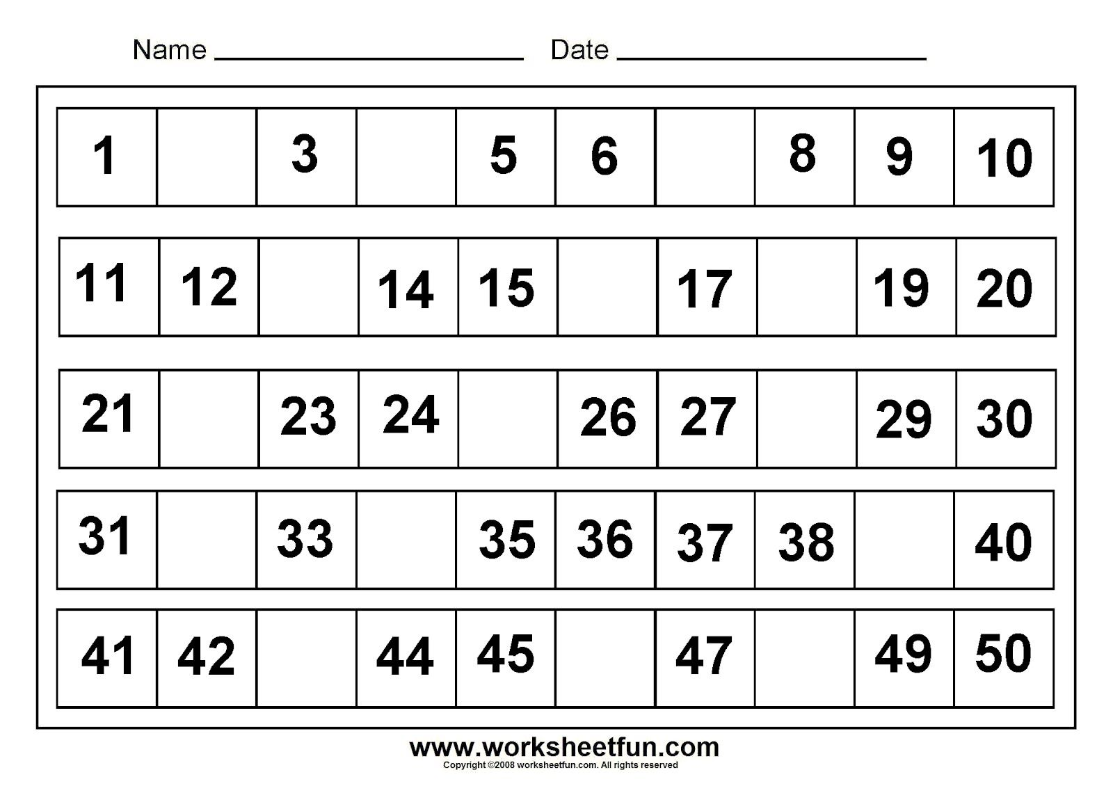 Fill In The Missing The Number 1 50