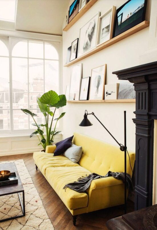 yellow sofa can bring so much cheer and sparkle the vaudeville theatre loft by playing circle also canape jaune anglais english idees salon pinterest rh za