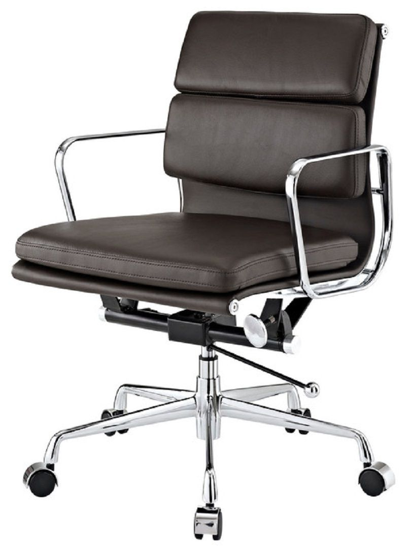 Brown Leather Mid Back Conference Room Chairs With Casters