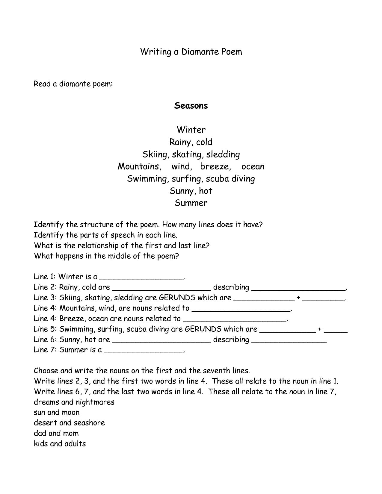 Diamante Poem Writing Assignment