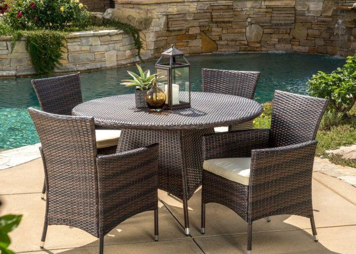 piece outdoor patio furniture multi brown wicker round dining set also