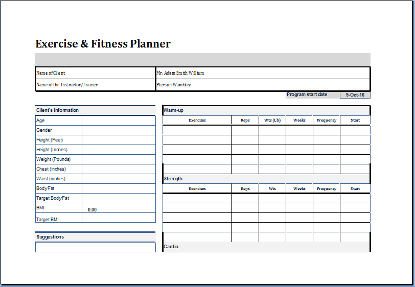 Exercise And Fitness Planner Template At Worddox