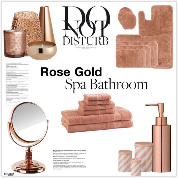 Rose Gold Bathroom Decor by marionfashionistadivamiller on Polyvore featuring interior