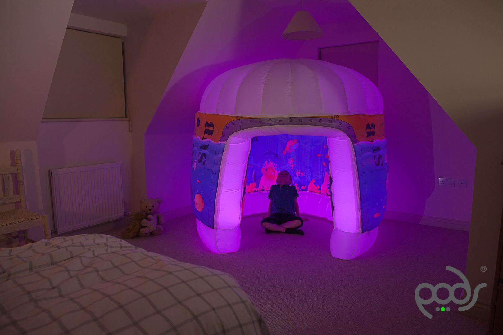 Pods Products Sub Aqua Inflatable Play Tent Pink Lights