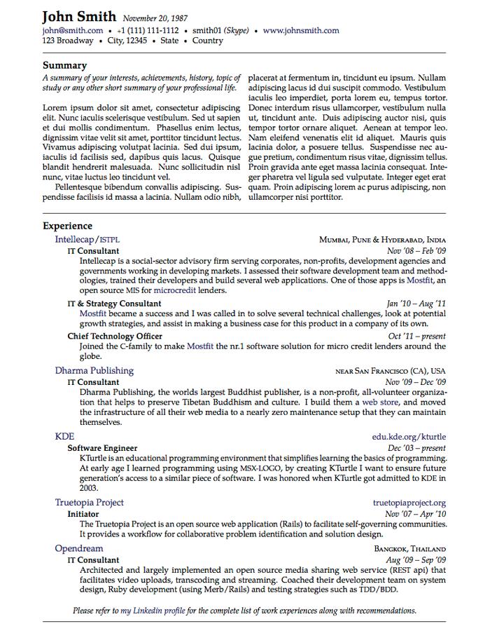 Cies Resume CV LaTeX Template LaTex Pinterest Resume Cv