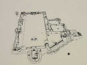 Layout of the Alamo at the time of the siege in 1836
