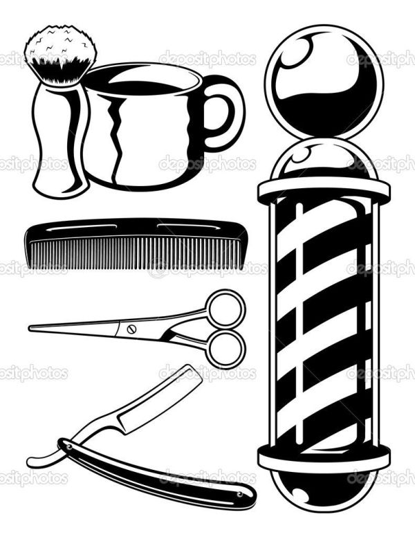 barber pole colouring pages hair