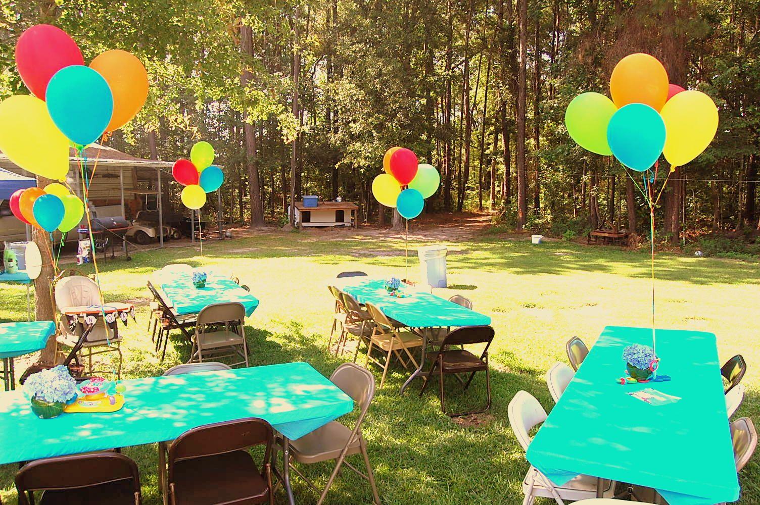 Backyard cookout/pool party setup
