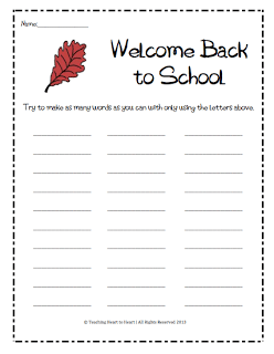 Welcome Back to School Word Bank Activity- Students try to