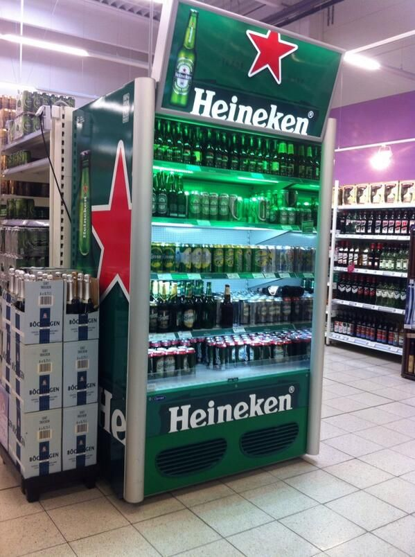 Beer Fridge In Tesco Hungary Displays Muestras