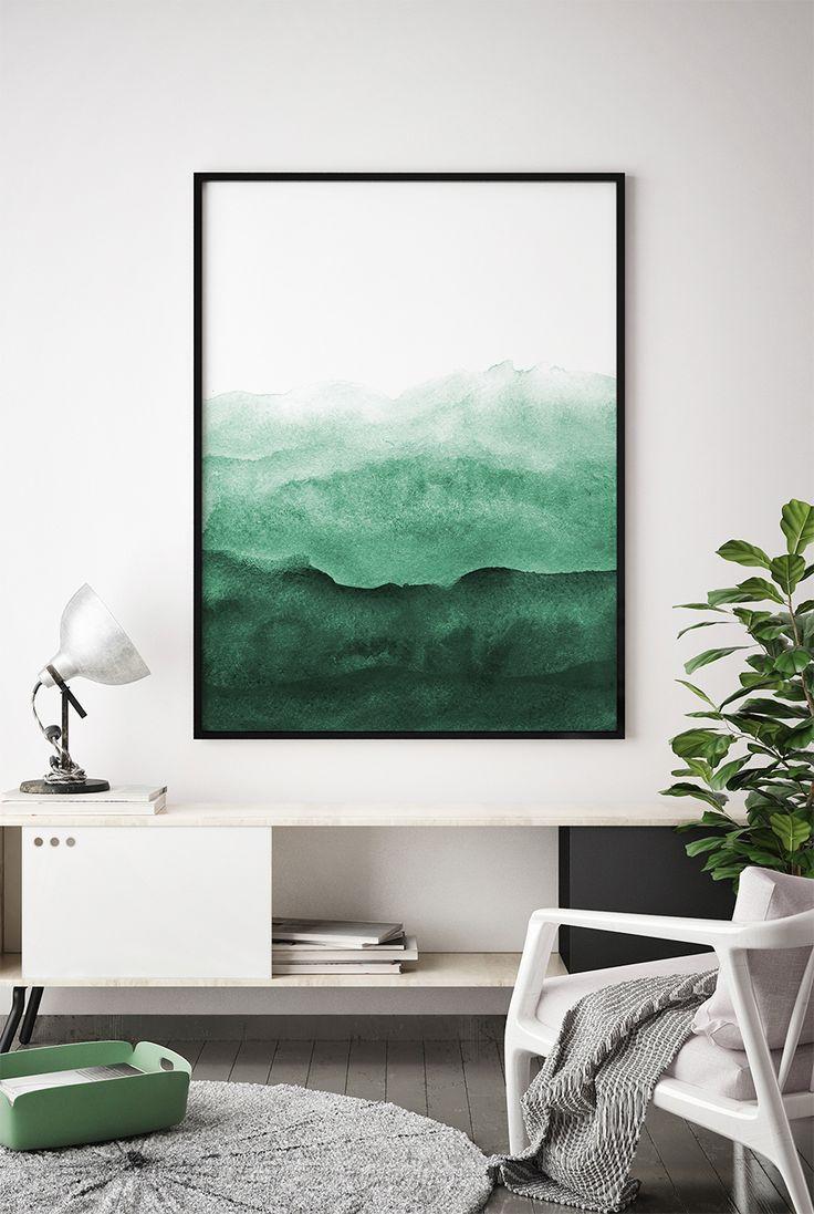 Abstract wall art print green painting emerald teal decor modern minimalist also rh pinterest