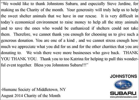 Thank You Letter from Humane Society of Middletown, NY for